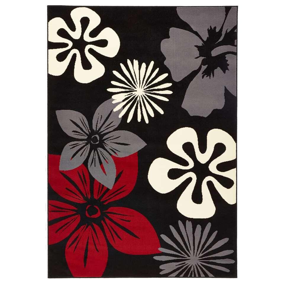 Hanse Home vloerkleed Flora - zwart/rood - 80x150 cm - Leen Bakker