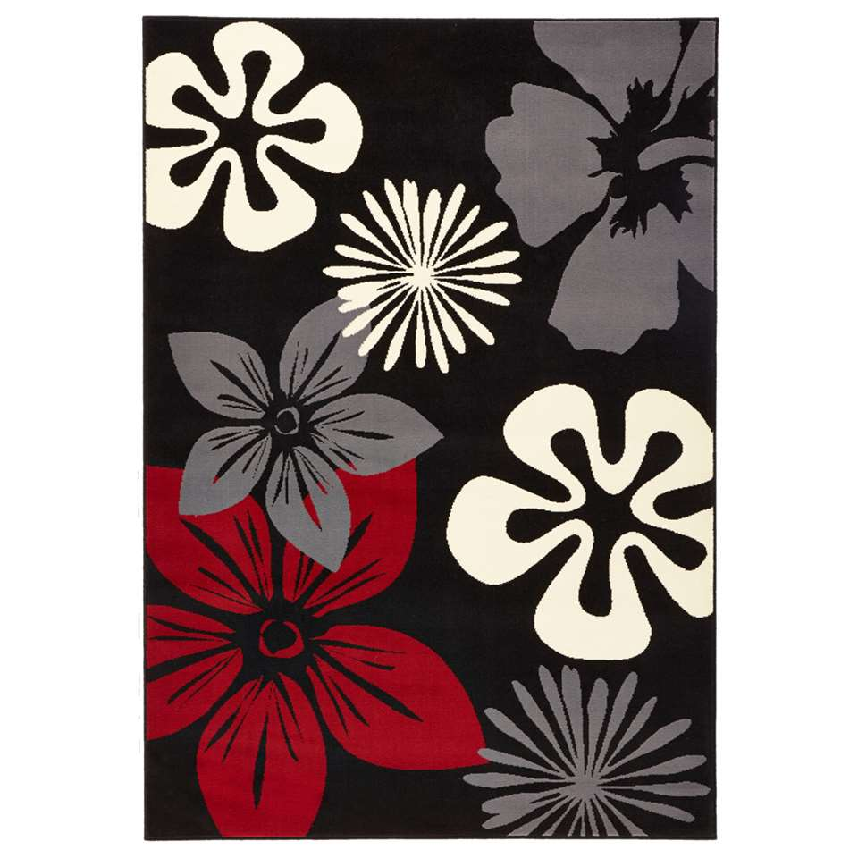 Hanse Home vloerkleed Flora - zwart/rood - 120x170 cm - Leen Bakker