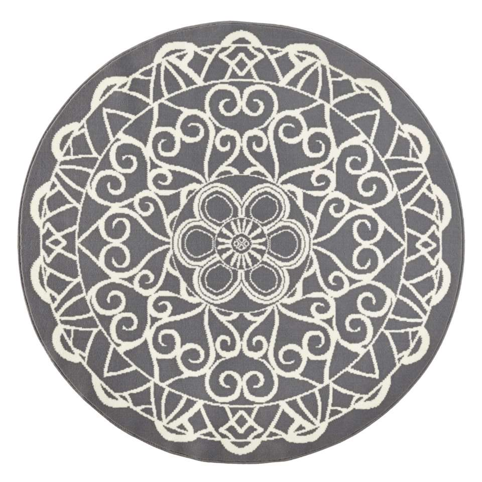 Zala Living vloerkleed Mandala – rond grijs – 140 cm – Leen Bakker
