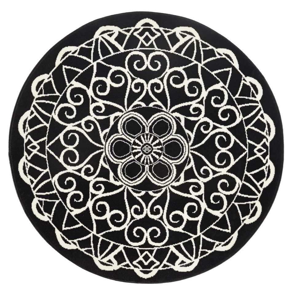 Zala Living vloerkleed Mandala - rond zwart - 140 cm - Leen Bakker
