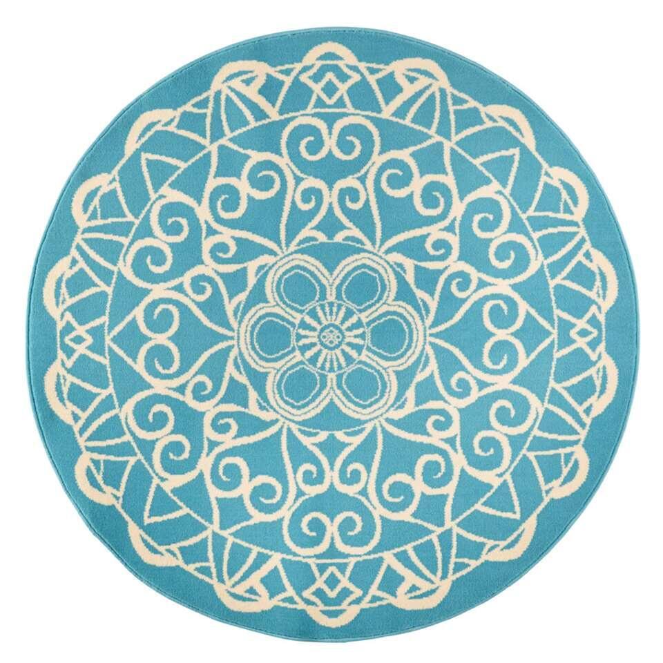 Zala Living vloerkleed Mandala - rond blauw - 140 cm - Leen Bakker
