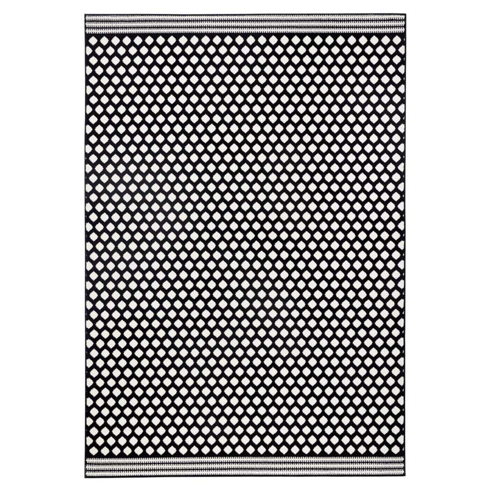 Zala Living vloerkleed Spot - zwart/crème - 200x290 cm - Leen Bakker