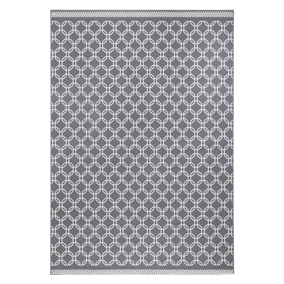 Zala Living vloerkleed Chain - grijs/crème - 160x230 cm - Leen Bakker