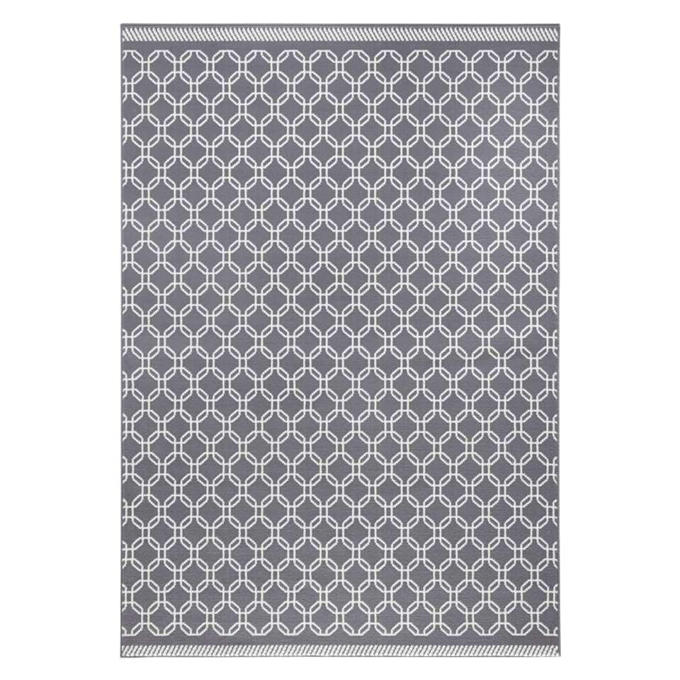 Zala Living vloerkleed Chain - grijs/crème - 200x290 cm - Leen Bakker