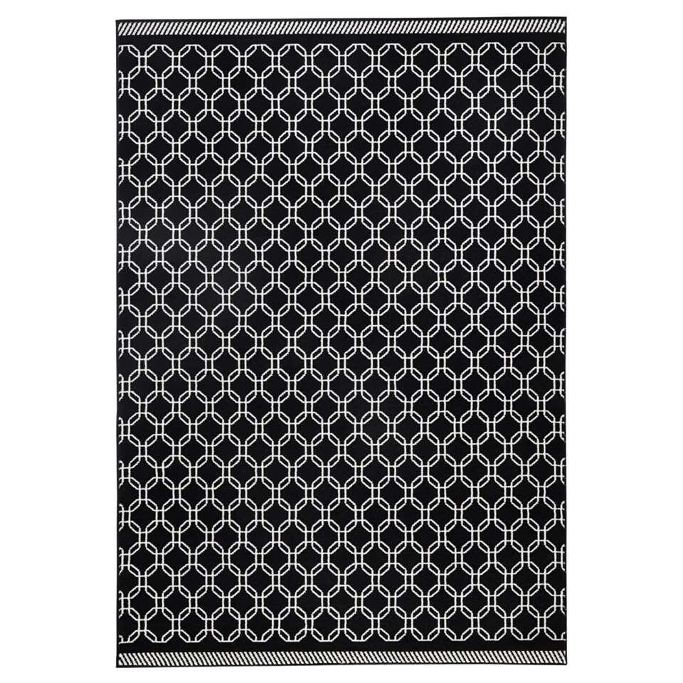 Zala Living vloerkleed Chain - zwart/crème - 160x230 cm - Leen Bakker
