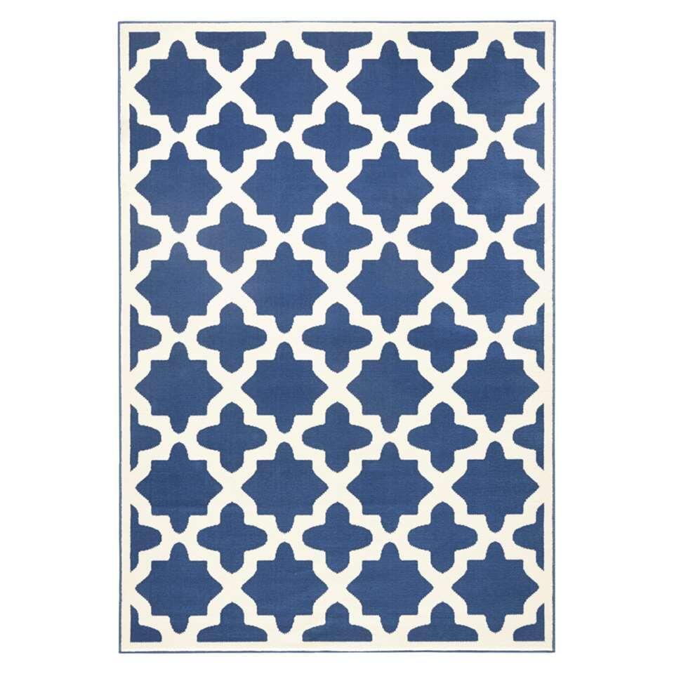 Zala Living vloerkleed Noble - blauw/crème - 140x200 cm - Leen Bakker