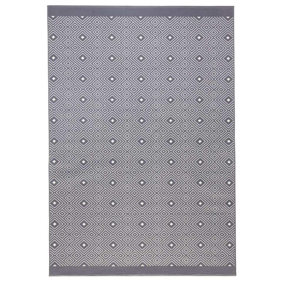 Zala Living vloerkleed Quadrangle - grijs - 200x290 cm - Leen Bakker