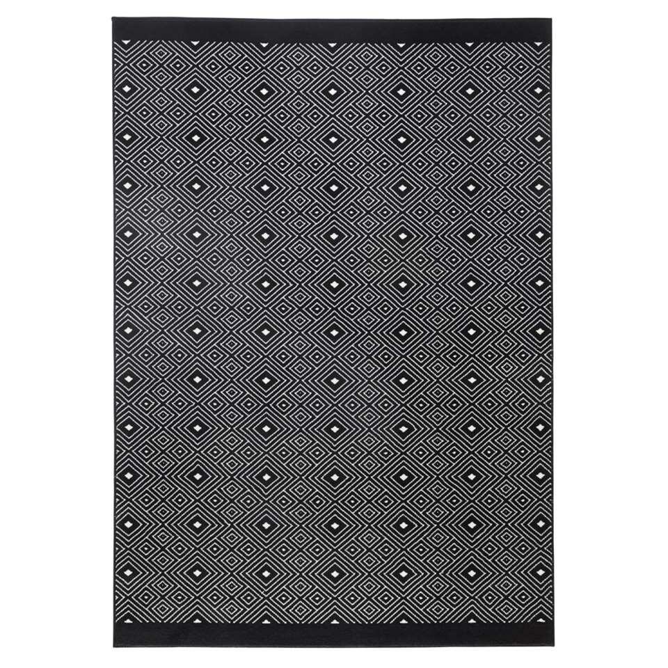 Zala Living vloerkleed Quadrangle - zwart - 140x200 cm - Leen Bakker