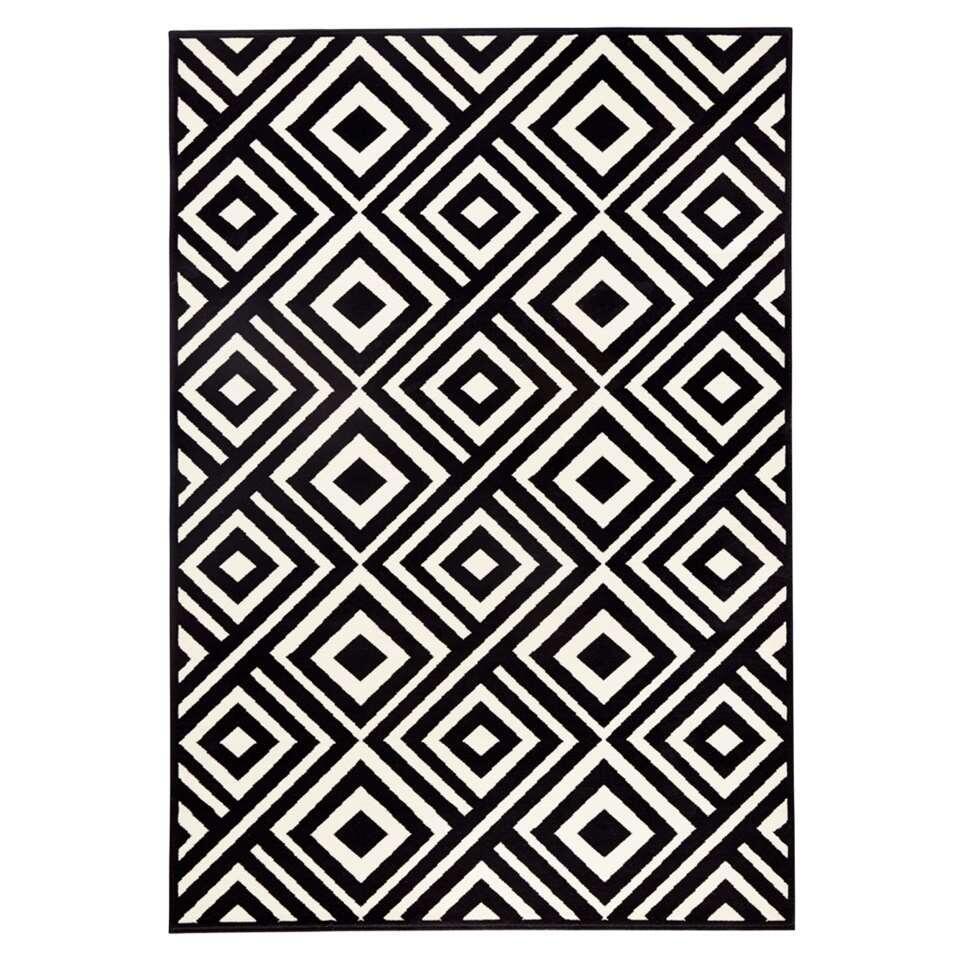 Zala Living vloerkleed Art - zwart/crème - 70x140 cm - Leen Bakker