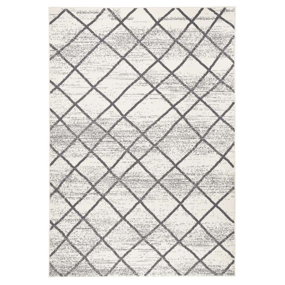Zala Living vloerkleed Rhombe - crème/grijs - 140x200 cm - Leen Bakker