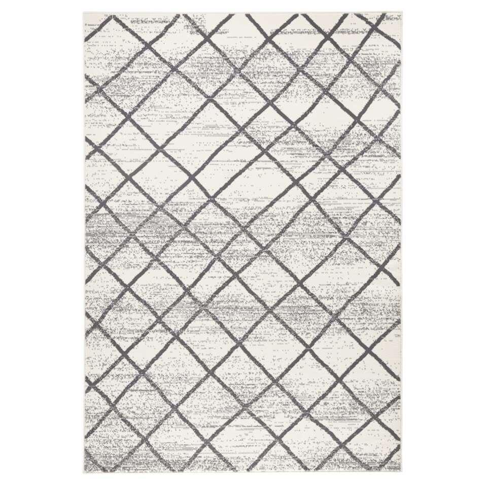 Zala Living vloerkleed Rhombe - crème/grijs - 160x230 cm - Leen Bakker