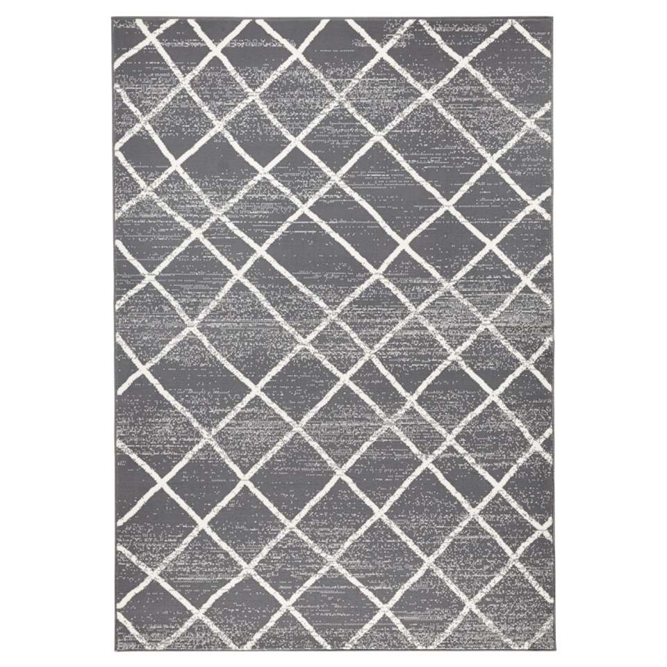 Zala Living vloerkleed Rhombe - grijs/crème - 70x140 cm - Leen Bakker