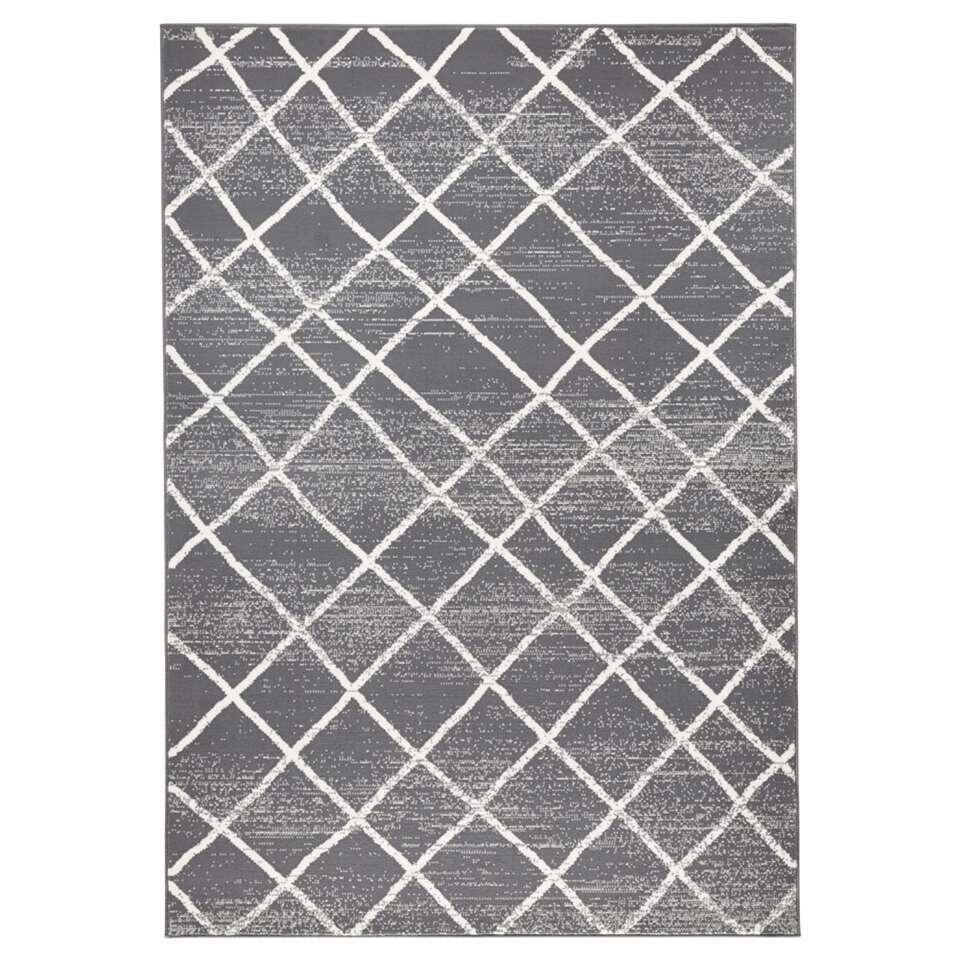Zala Living vloerkleed Rhombe - grijs/crème - 160x230 cm - Leen Bakker