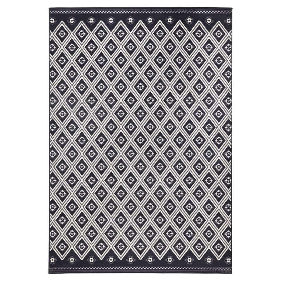 Zala Living vloerkleed Karree - zwart/grijs - 140x200 cm - Leen Bakker