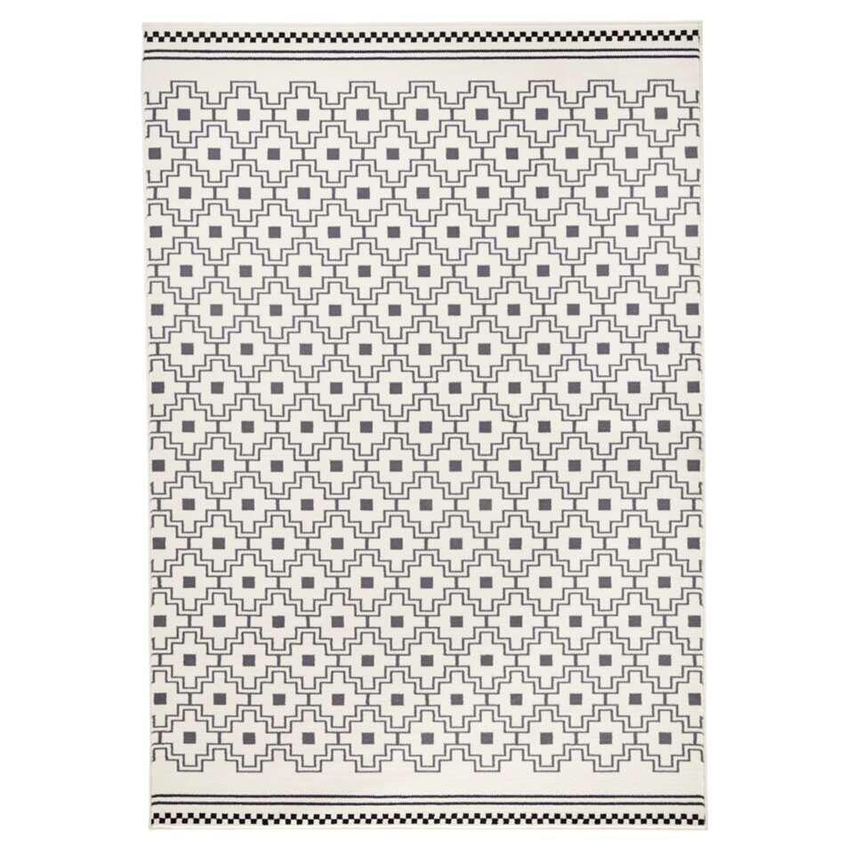 Zala Living vloerkleed Cubic - grijs/crème - 70x140 cm - Leen Bakker