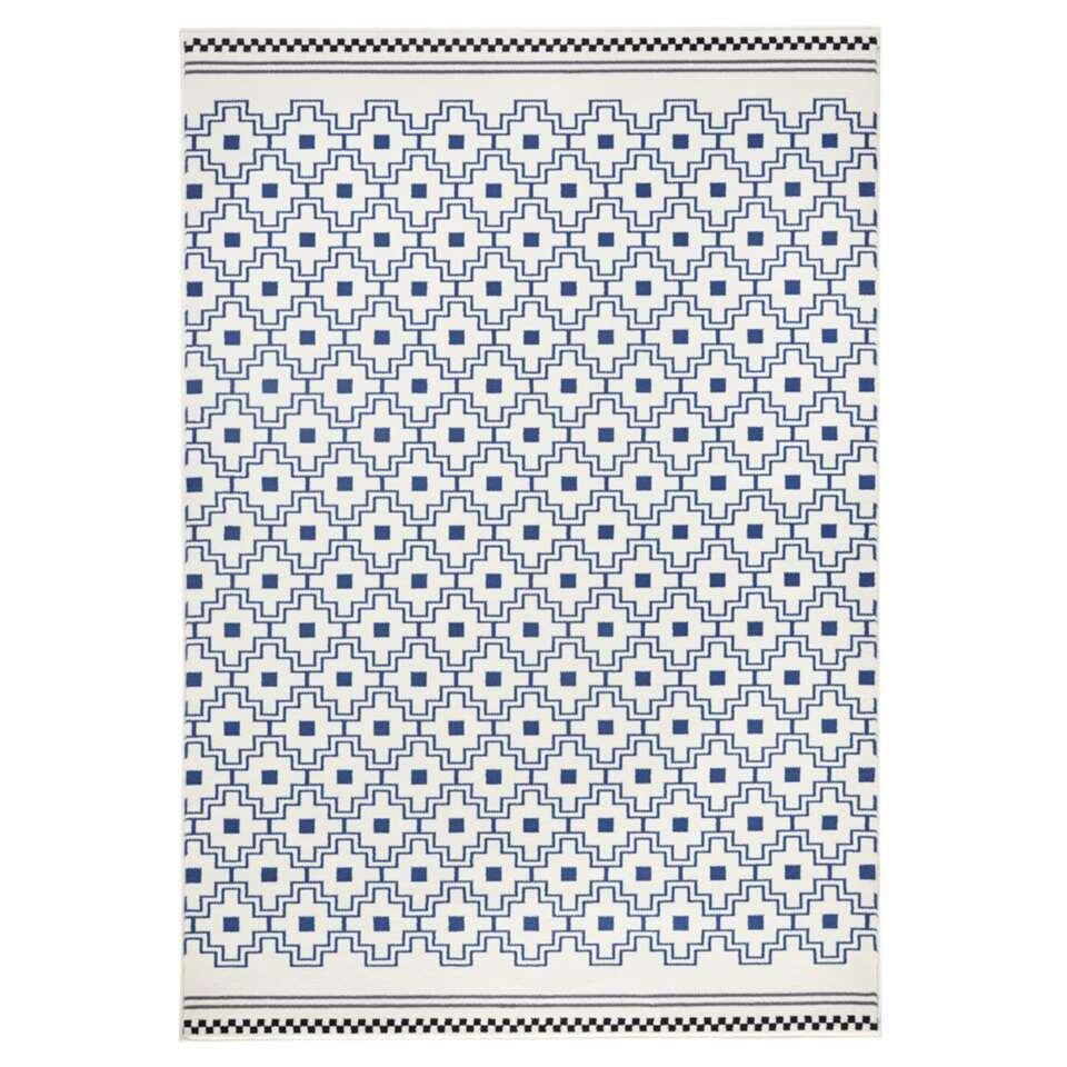 Zala Living vloerkleed Cubic - blauw/crème - 70x140 cm - Leen Bakker