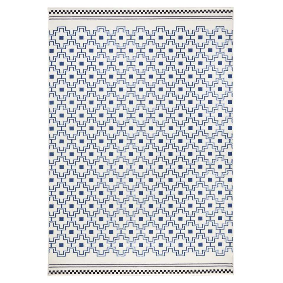 Zala Living vloerkleed Cubic - blauw/crème - 160x230 cm - Leen Bakker