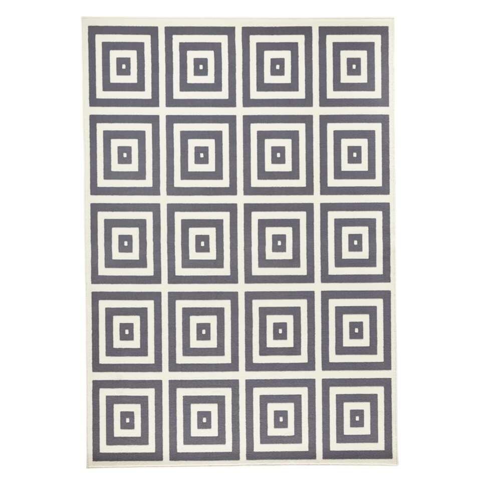 Zala Living vloerkleed Mono - grijs/crème - 140x200 cm - Leen Bakker