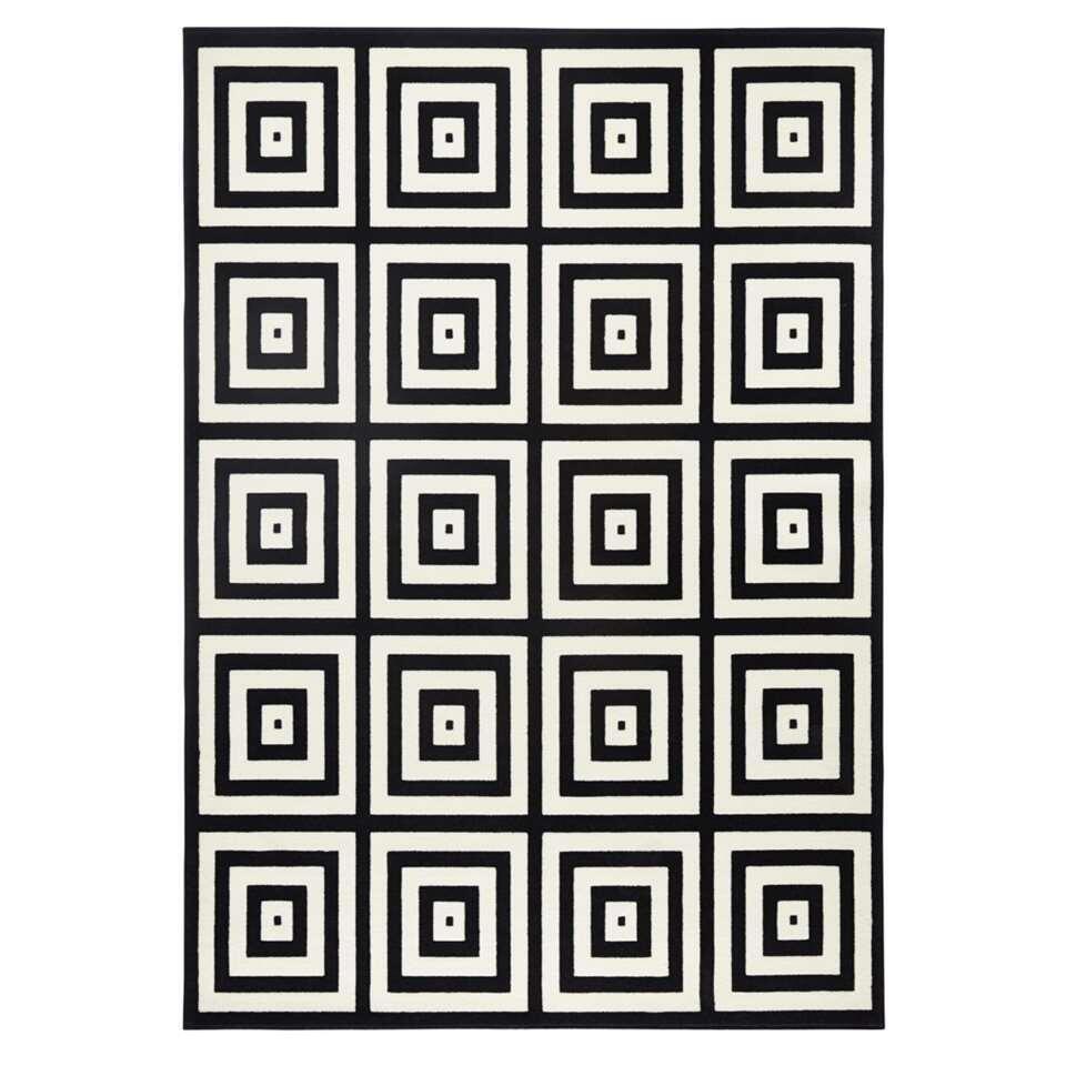 Zala Living vloerkleed Mono - zwart/crème - 160x230 cm - Leen Bakker