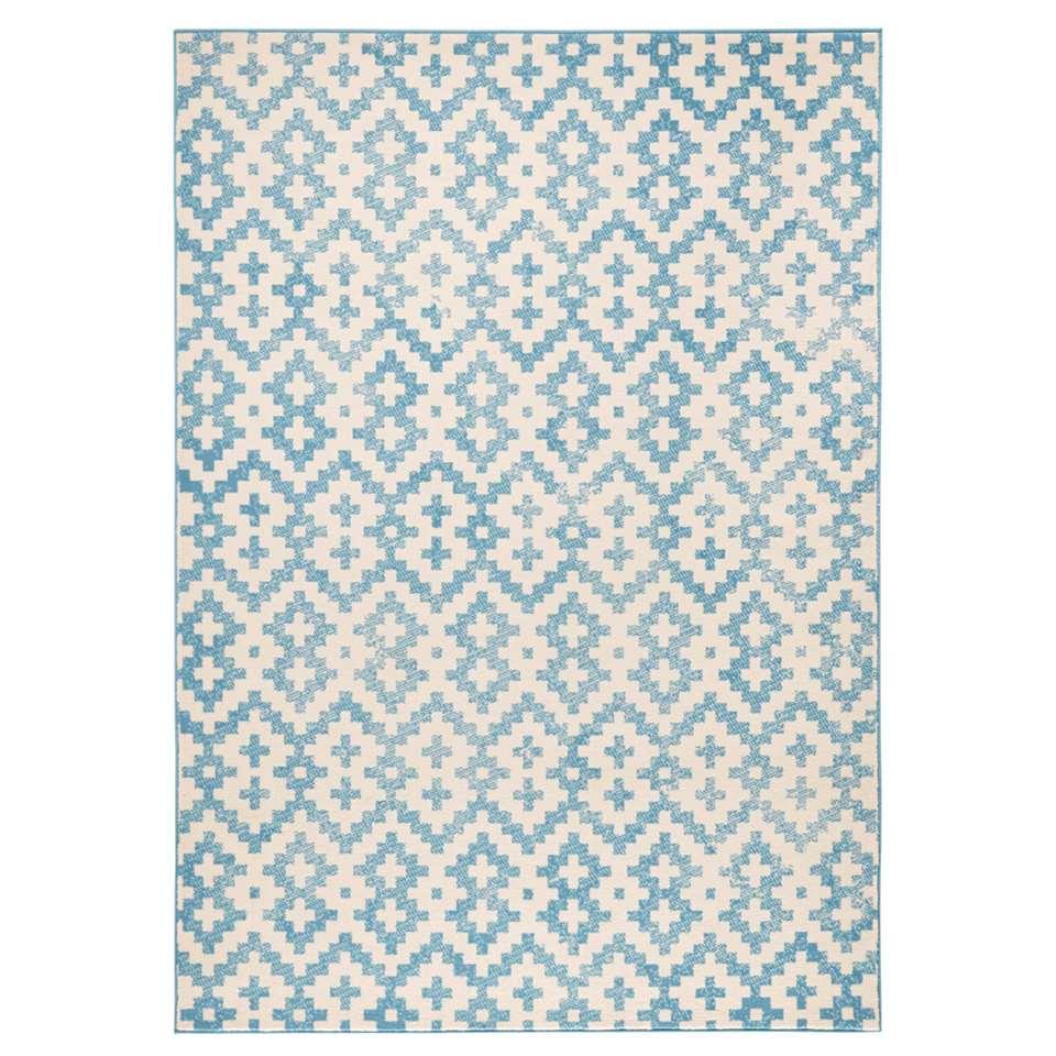 Zala Living vloerkleed Duo - blauw/crème - 70x140 cm - Leen Bakker