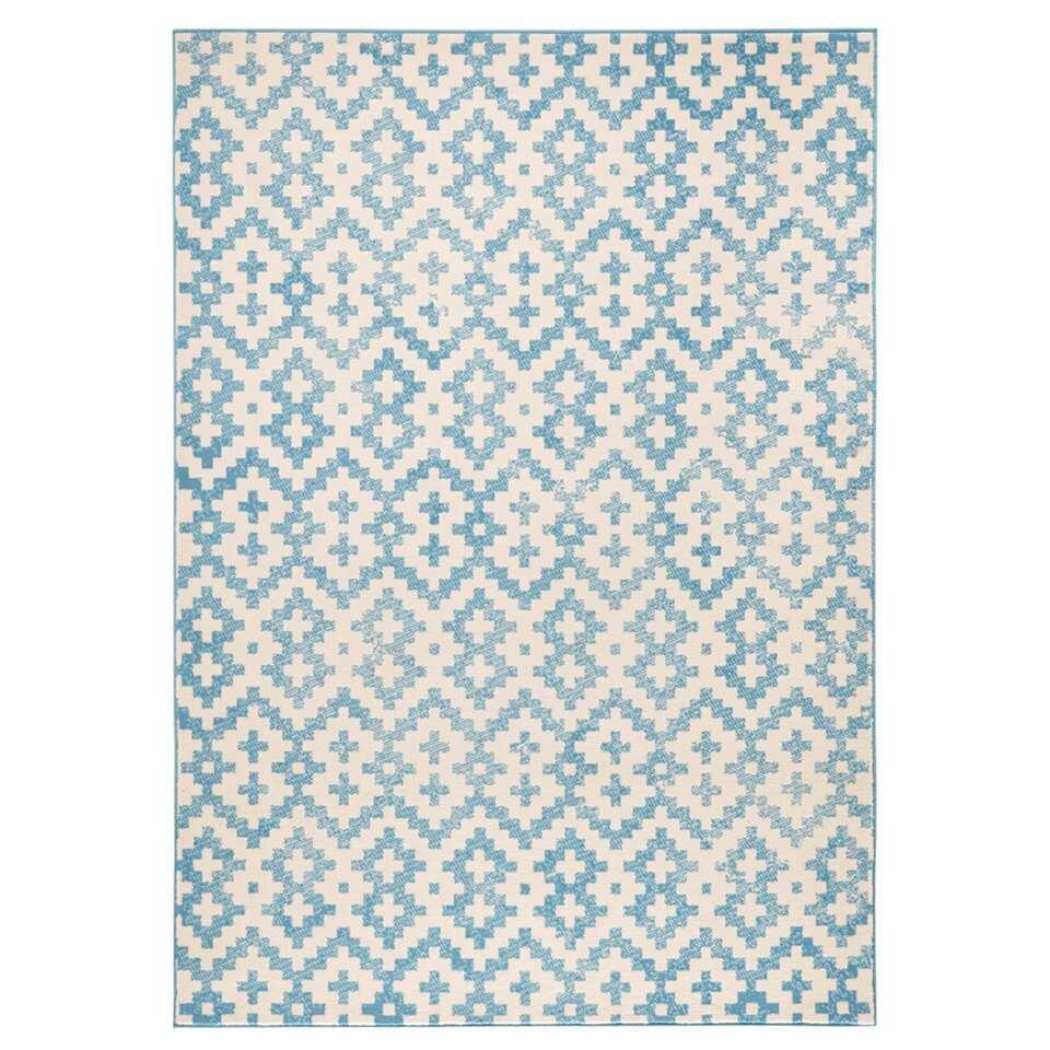 Zala Living vloerkleed Duo - blauw/crème - 140x200 cm - Leen Bakker