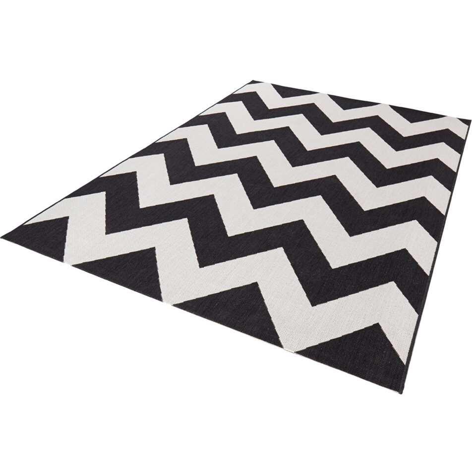 Bougari binnen/buitenvloerkleed Unique - zwart - 120x170 cm - Leen Bakker