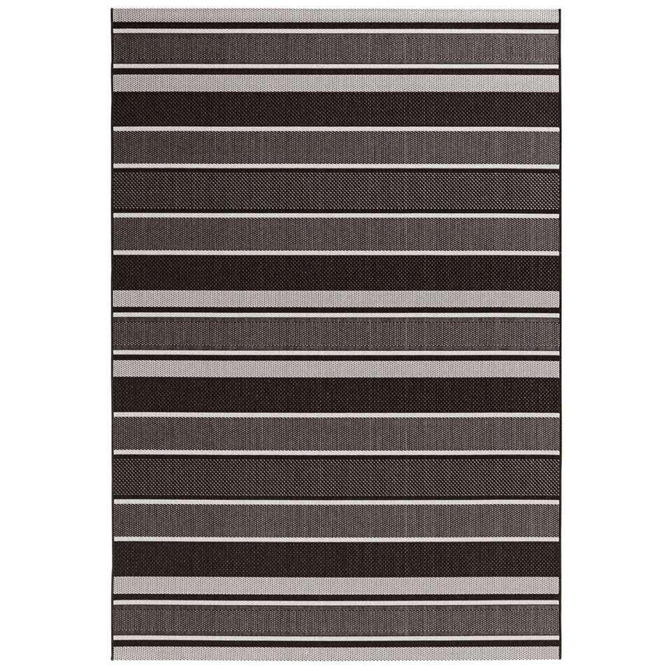 Bougari binnen/buitenvloerkleed Strap - zwart - 80x150 cm - Leen Bakker