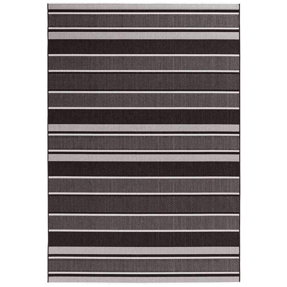 Bougari binnen/buitenvloerkleed Strap - zwart - 160x230 cm - Leen Bakker