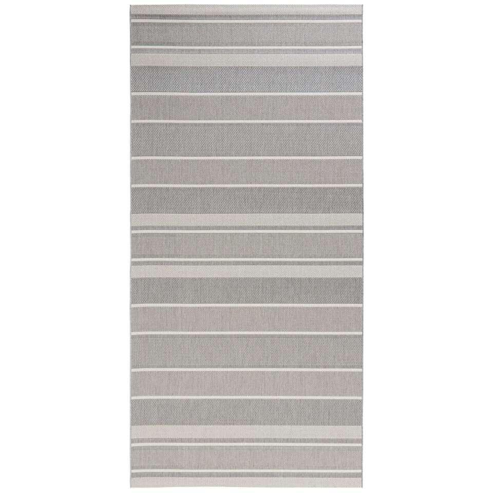 Bougari binnen/buitenvloerkleed Strap - grijs - 80x150 cm - Leen Bakker