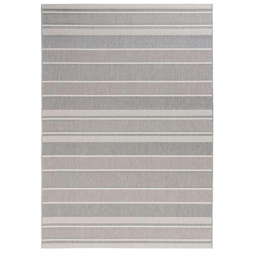 Bougari binnen/buitenvloerkleed Strap - grijs - 160x230 cm - Leen Bakker