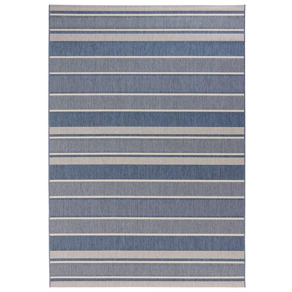 Bougari binnen/buitenvloerkleed Strap - blauw - 120x170 cm - Leen Bakker