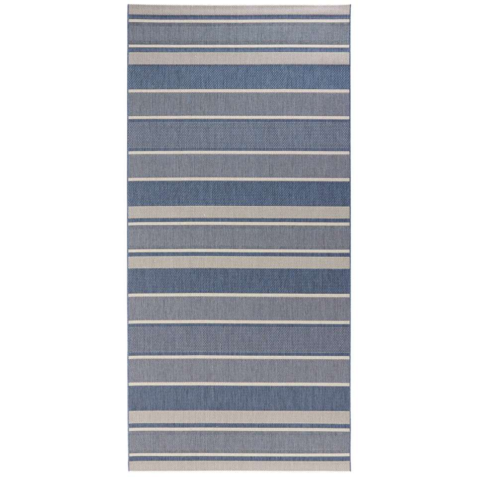 Bougari binnen/buitenvloerkleed Strap - blauw - 80x200 cm - Leen Bakker