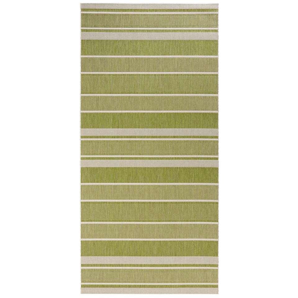 Bougari binnen/buitenvloerkleed Strap - groen - 80x150 cm - Leen Bakker