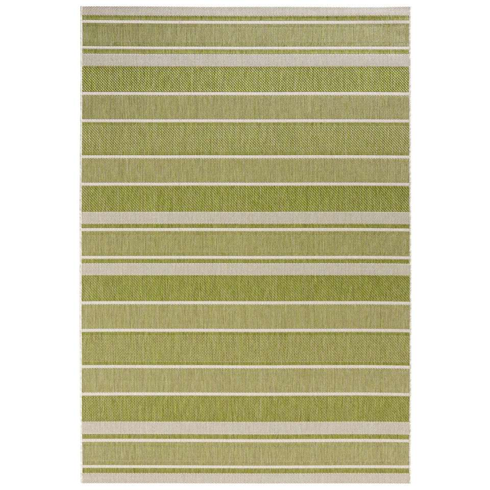 Bougari binnen/buitenvloerkleed Strap - groen - 120x170 cm - Leen Bakker