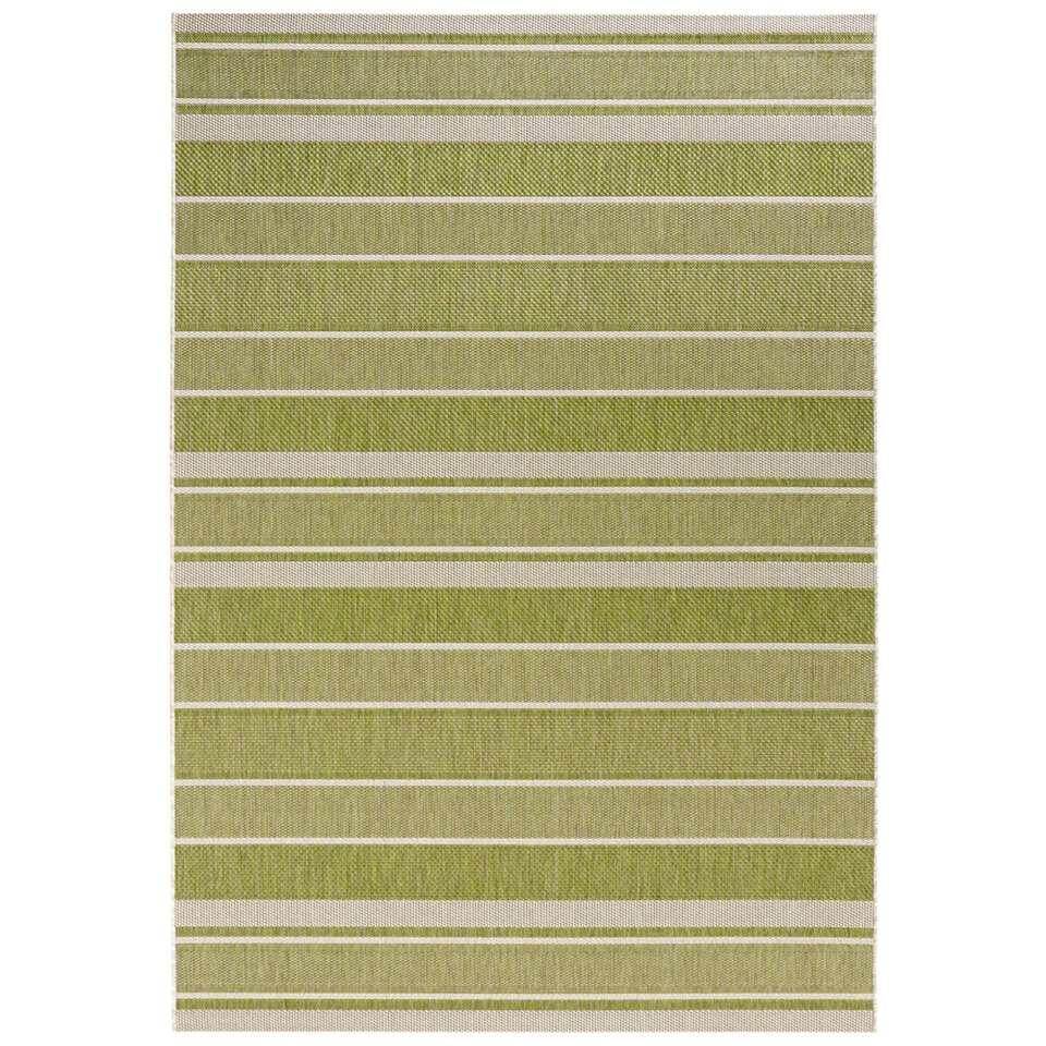 Bougari binnen/buitenvloerkleed Strap - groen - 200x290 cm - Leen Bakker