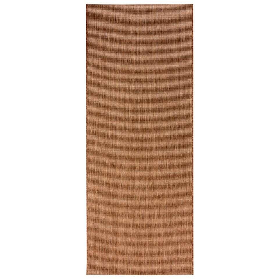 Bougari binnen/buitenvloerkleed Match - bruin - 80x200 cm - Leen Bakker