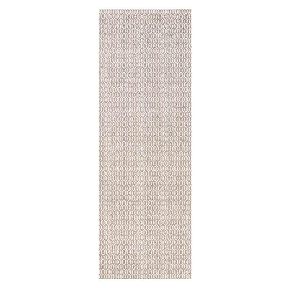 Bougari binnen/buitenvloerkleed Coin - grijs - 80x200 cm - Leen Bakker