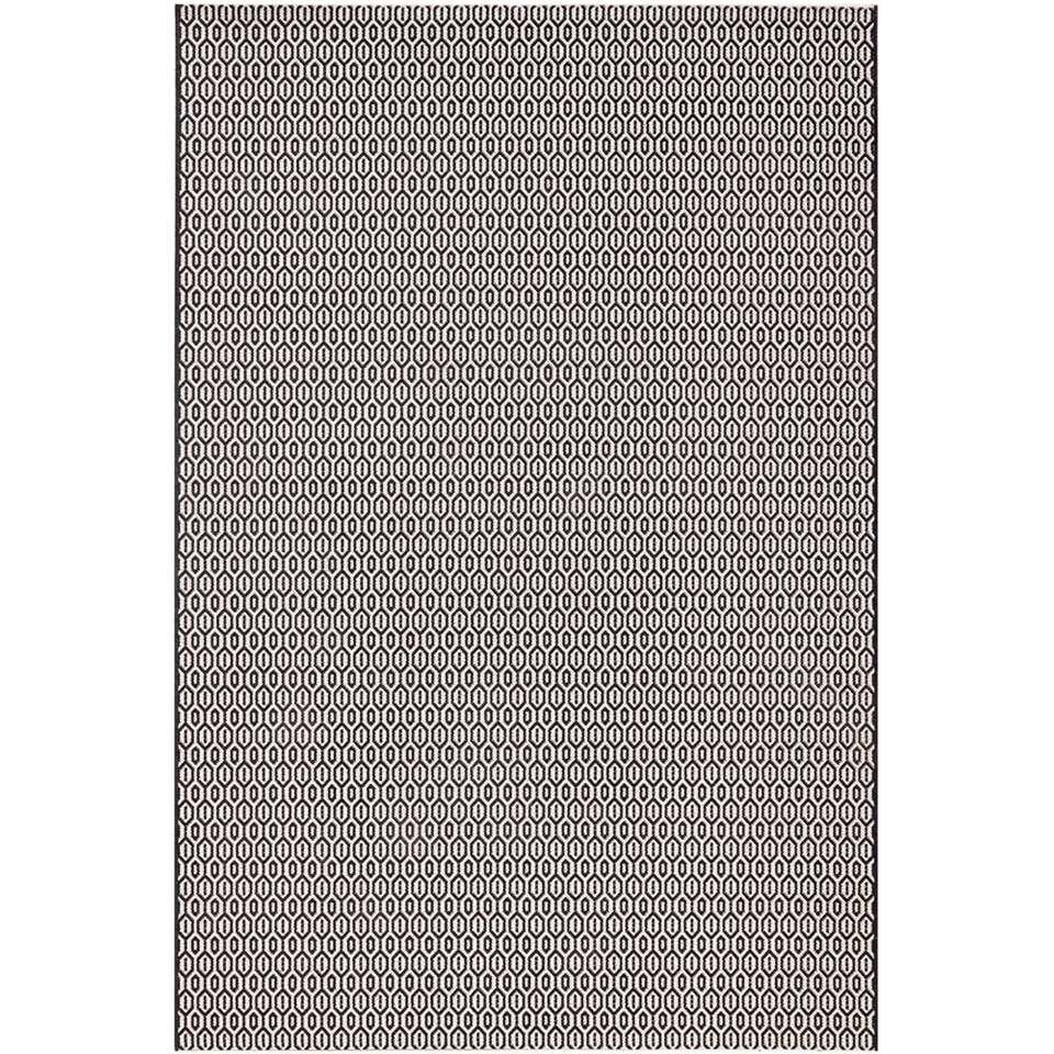Bougari binnen/buitenvloerkleed Coin - zwart - 80x150 cm - Leen Bakker