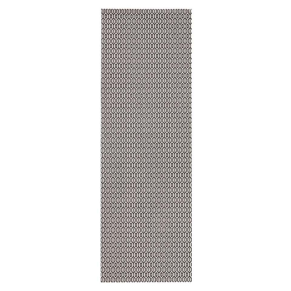 Bougari binnen/buitenvloerkleed Coin - zwart - 80x200 cm - Leen Bakker