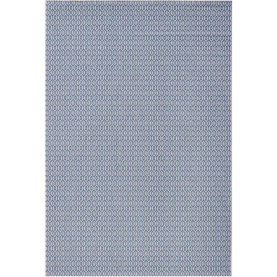 Bougari binnen/buitenvloerkleed Coin - blauw - 80x150 cm - Leen Bakker
