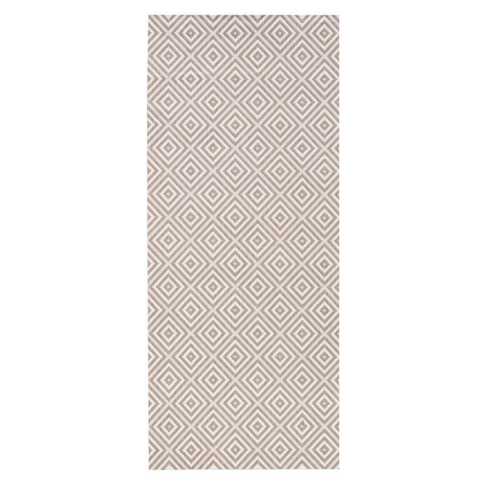 Bougari binnen/buitenvloerkleed Karo - grijs - 80x200 cm - Leen Bakker