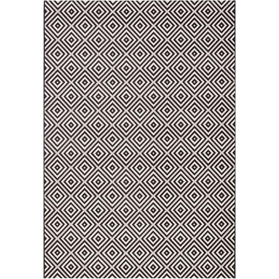 Bougari binnen/buitenvloerkleed Karo - zwart - 80x150 cm - Leen Bakker