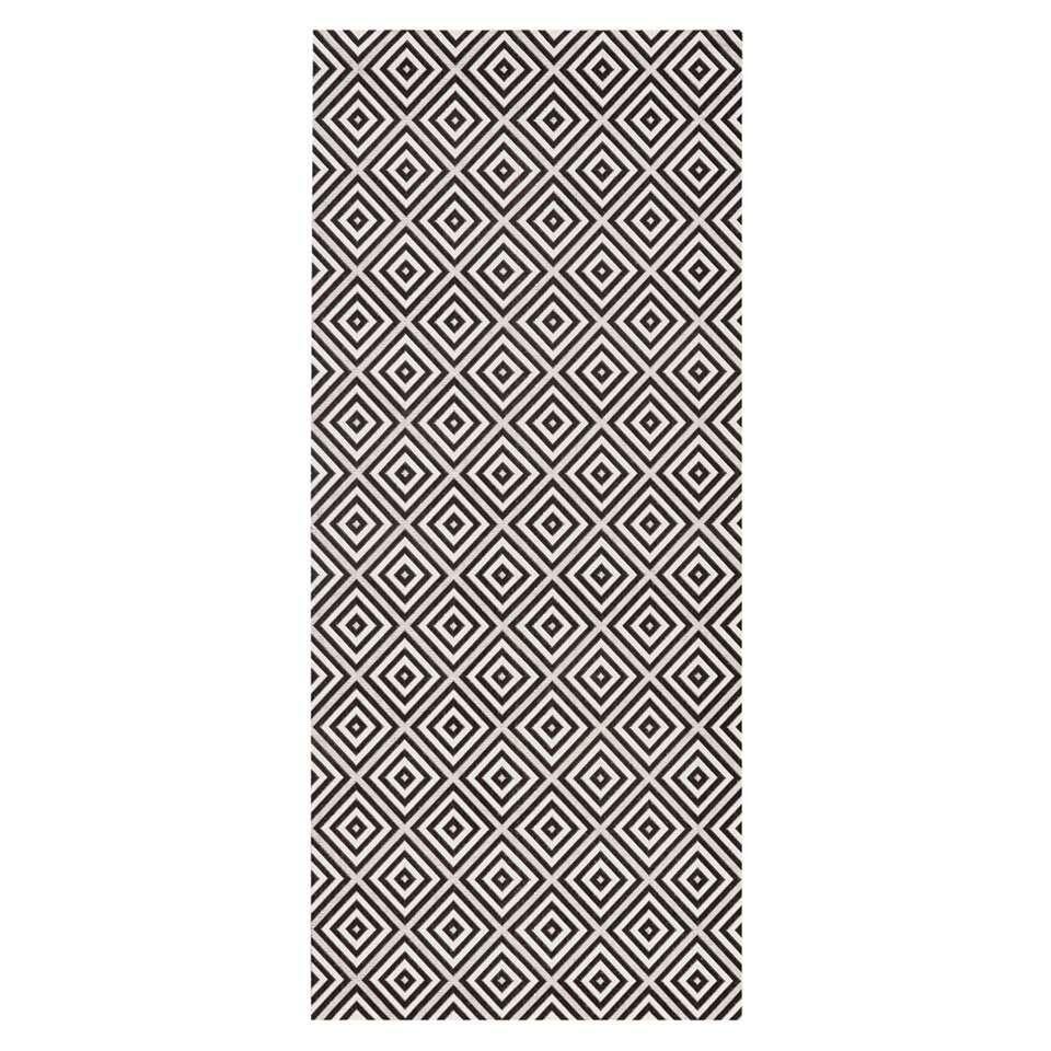 Bougari binnen/buitenvloerkleed Karo - zwart - 80x200 cm - Leen Bakker