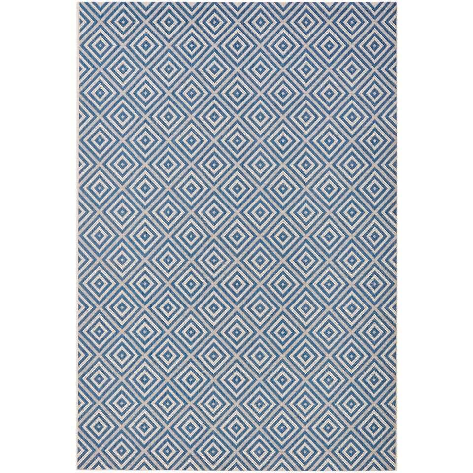 Bougari binnen/buitenvloerkleed Karo - blauw - 80x150 cm - Leen Bakker