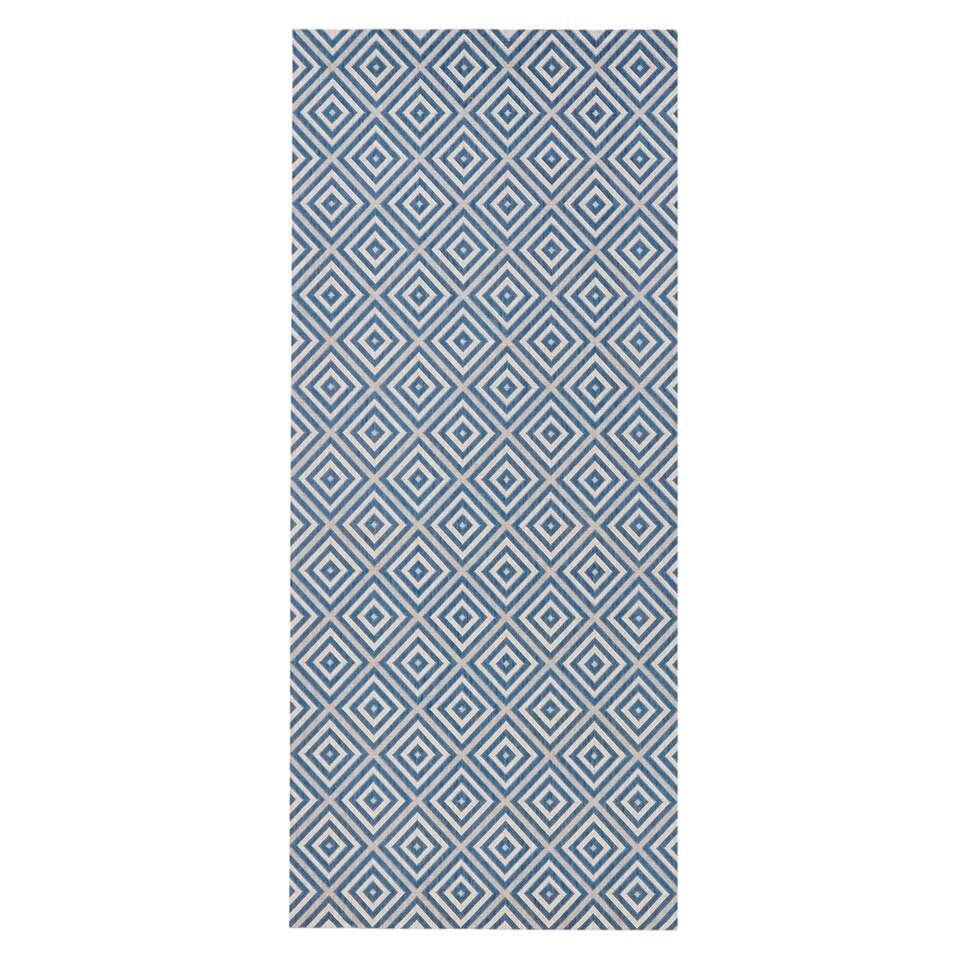 Bougari binnen/buitenvloerkleed Karo - blauw - 80x200 cm - Leen Bakker