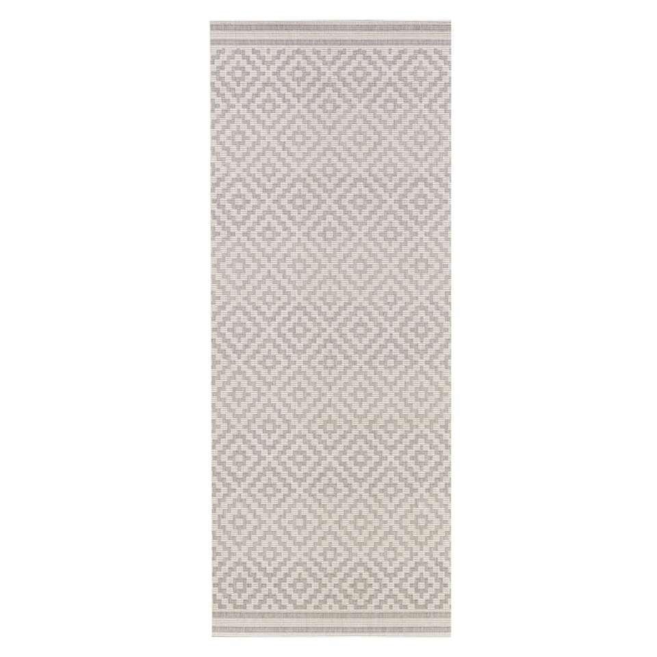 Bougari binnen/buitenvloerkleed Raute - grijs/crème - 80x200 cm - Leen Bakker