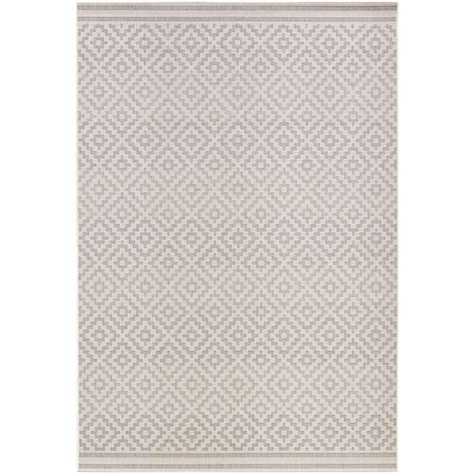 Bougari binnen/buitenvloerkleed Raute - grijs/crème - 160x230 cm - Leen Bakker