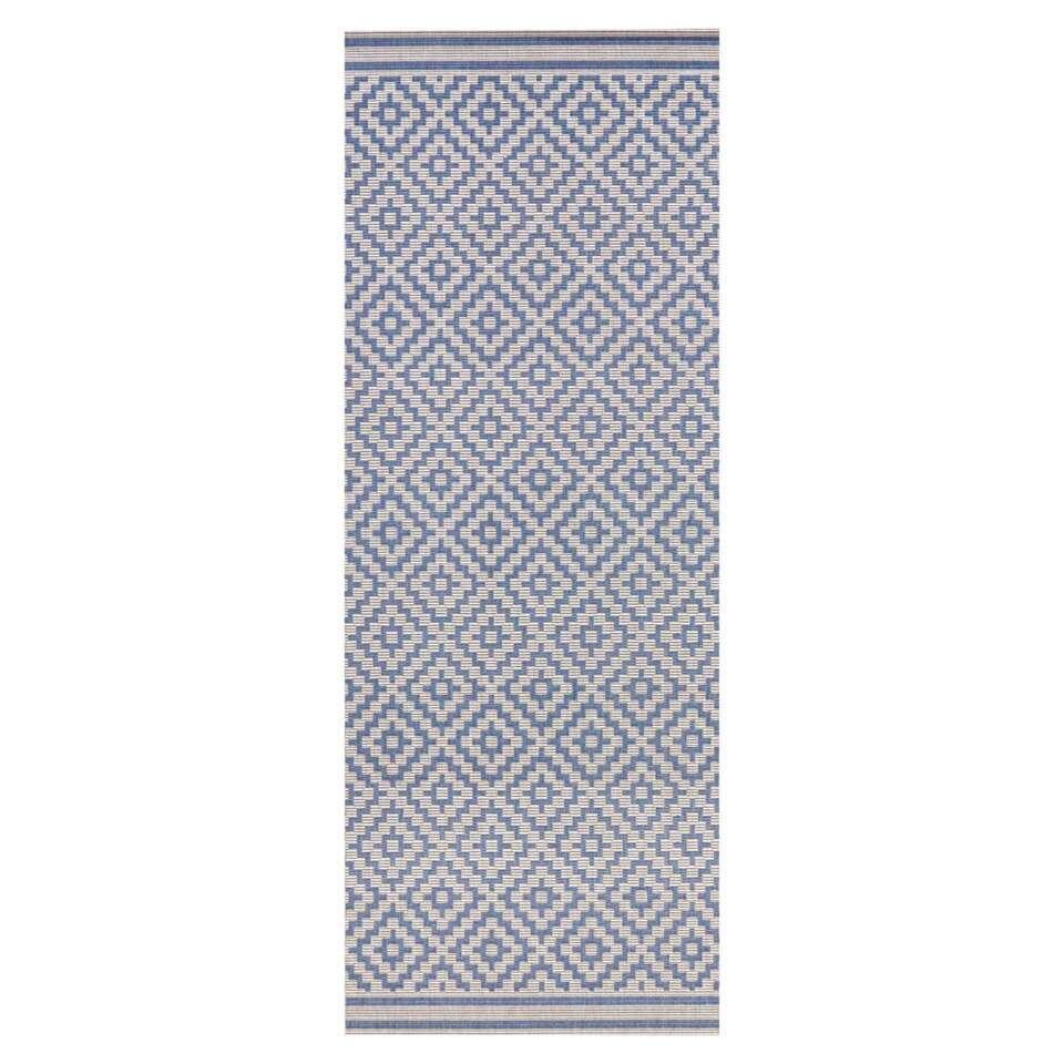 Bougari binnen/buitenvloerkleed Raute - blauw/crème - 80x200 cm - Leen Bakker