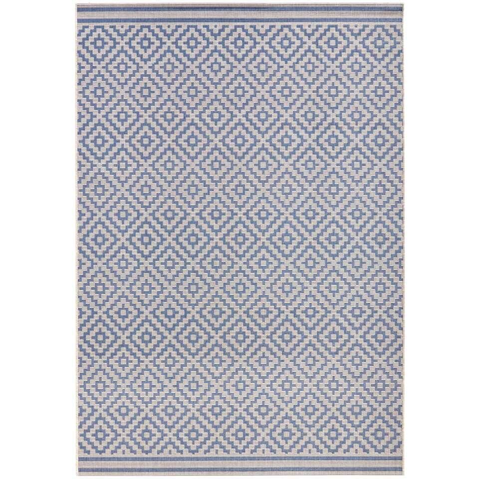 Bougari binnen/buitenvloerkleed Raute - blauw/crème - 200x290 cm - Leen Bakker