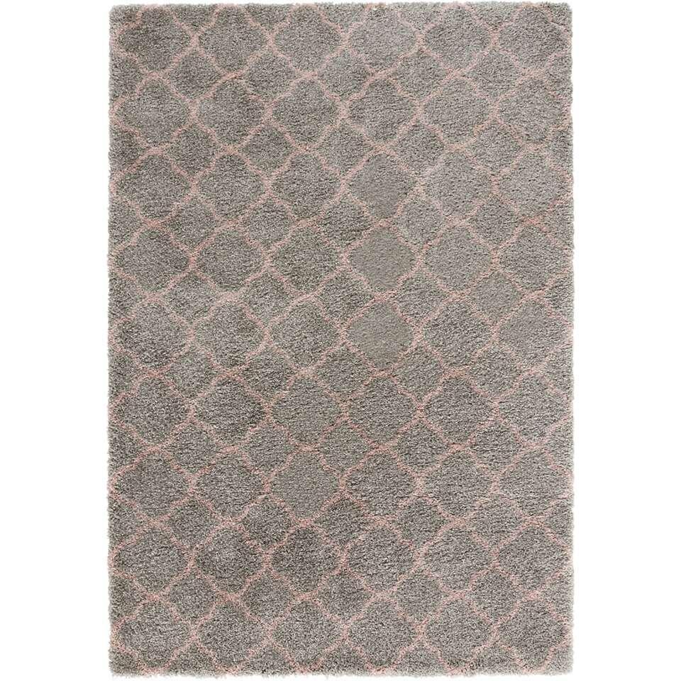 Mint Rugs vloerkleed Luna - grijs/roze - 160x230 cm - Leen Bakker
